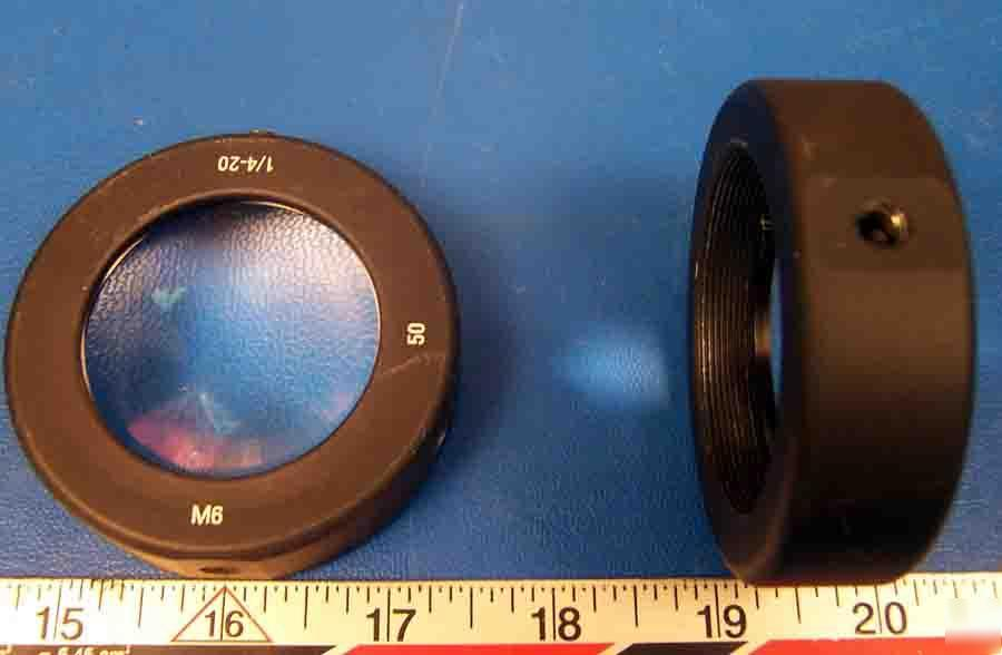 Lot of 2 threaded 1/4-20 M6 50MM optic holder w/ optics