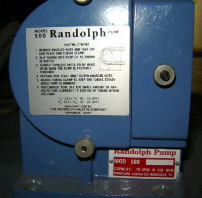 Unused: randolph peristaltic pump model 500 (3399.02)