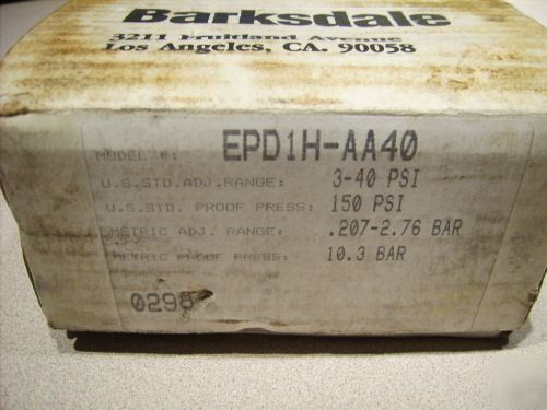 Barksdale differential pressure switches EPD1H-1140