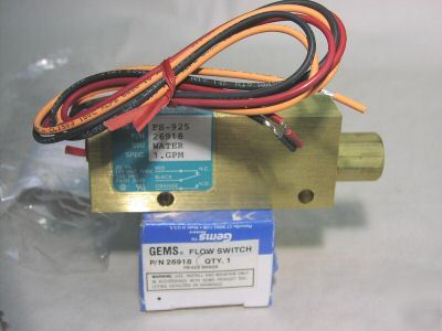 New gems 26914 flow switch 1/4 npt brass 0.1 gpm