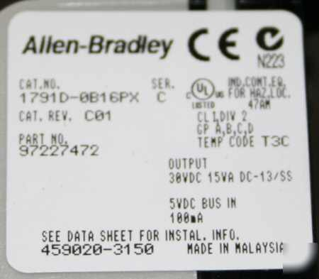 Allen bradley compact block i/o expansion 1791D-0B16PX