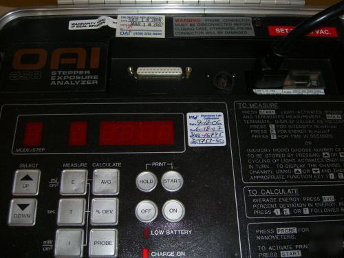 Oai 358 stepper exposure analyzer uv intensity analyzer