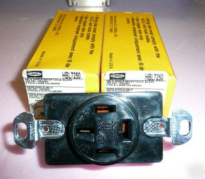New 3) hubbell 7250 single receptacles, 20A 120/208V,