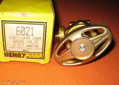 New henry valve 6021 liquid level gauge safety ball 1/2