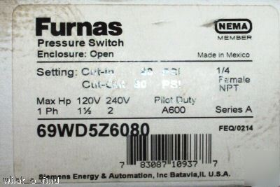 New furnas 69WD5Z6080 pressure switch 60 psi in 80 out