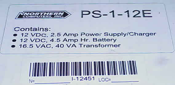 Northern comp power supply/ charger/battery ps-1-12E