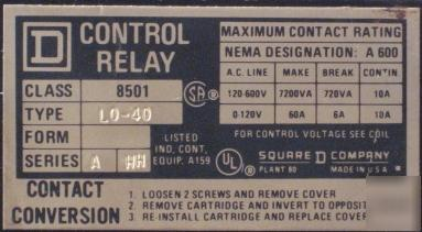 Square d control relay class 8501 type L0-40 series a