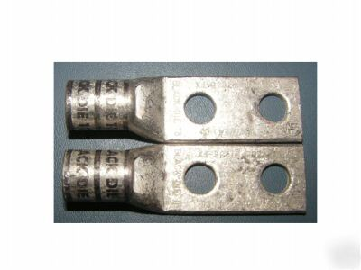 Pair burndy 2/0 awg black die lugs - 2 hole