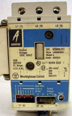 Westinghouse ac motor starter / contactor W200MLCFC