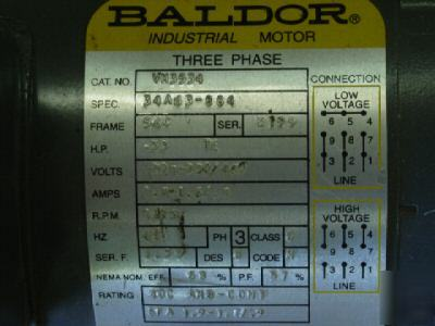 Baldor motor w/browning - VM3534 / .33HP /1725RPM / 3PH