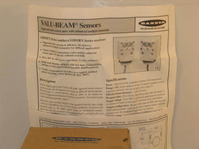 Banner valu-beam photo-electric sensor SMA915DJQD-28406