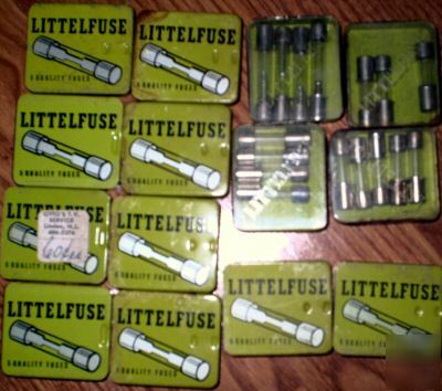 Lot of 62 vintage littlefuse fuses. various amps. nos