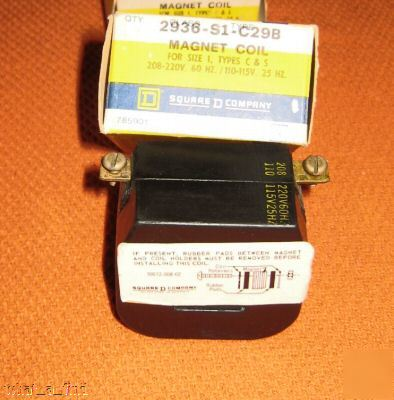 New square d 2936-S1-C29B coil type c & s 2936S1C29B