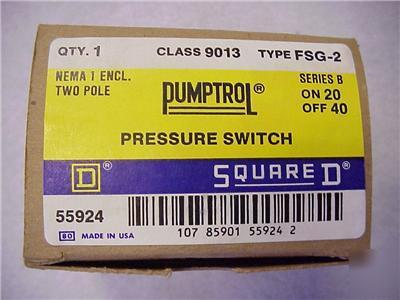 New 20/40 pumptrol pressure switch by square d 40/20