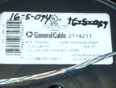General cable 211421 cross connect 4PAIR 4PR 1000FT