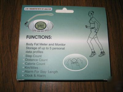 New pedometer counter w/step/fat/clock/alarm - A3003