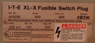 New siemens ite xl-x fusible plug 400 amp RV365G 3677