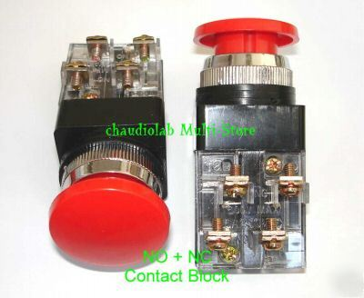4 momentary mushroom pushbutton switch no+nc red #1202