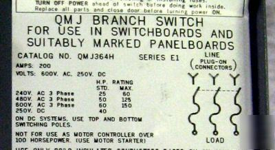 Square d 200 amp panelboard switch QMJ364H excl++