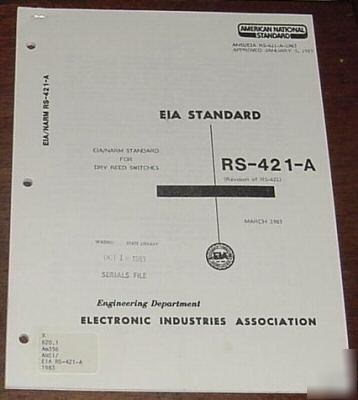 Eia/narm standard for dry reed switches rs-421-a