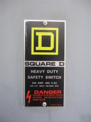 Square d 200 amp hu-364-rb safety switch outdoor used