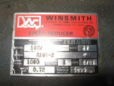 Winsmith 27-1 speed reducer gear reduction