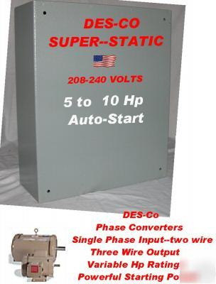 10 to 15 hp static phase converter--des-co industries
