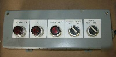 Pushbutton enclosure with 5 allen bradley buttons