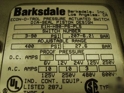 New barksdale pressure actuated switch E1H-H90-P6-pls