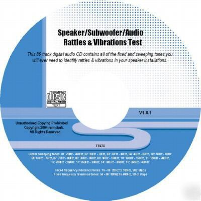 Speaker/subwoofer/audio rattles & vibrations test cd